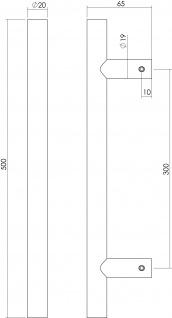 Intersteel Türgriff T-Form ø 20 mm - 500 mm gebürsteter Edelstahl - Vorschau 2
