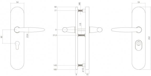 Intersteel Sicherheitsbeschlag SKG3 mit Profilzylinder-Lochung 92 mm Messing Titan PVD Hintertürbeschlag mit Kernziehschutz - Vorschau 2