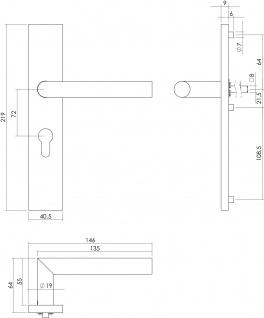Intersteel Türklinke 90° Winkel auf rechteckigem Schild mit Profilzylinder-Lochung 72 mm Edelstahl gebürstet - Vorschau 2