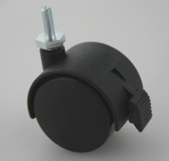 MS Beschläge® Möbelrolle Hartbodenrolle aus Kunststoff mit Bremse und Gewinde - Vorschau 2