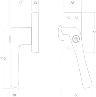 Intersteel Fensterverriegelung abschließbar mit Nocke links Chrom - Vorschau 2