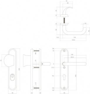Intersteel Sicherheitsbeschlag SKG3 mit Profilzylinder-Lochung 72 mm und Kernziehschutz oval Vordertürbeschlag massiver Edelstahl gebürstet - Vorschau 2