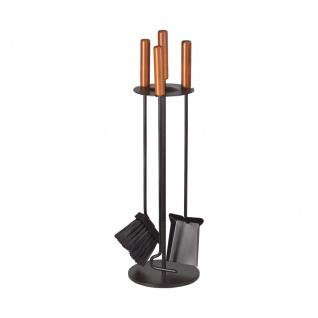 Slender 2 Kamingarnitur in Schwarz beschichtet, Griffe Buche nussbaumfarben, dreiteilig