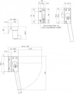 Intersteel Fensterverriegelung abschließbar SKG* rechts Chrom matt - Vorschau 2