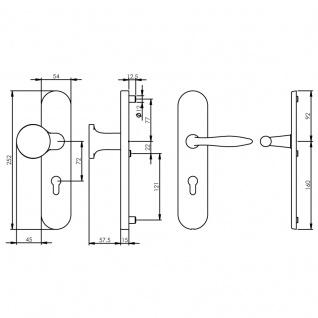 Intersteel Sicherheitsbeschlag SKG3 mit Profilzylinder-Lochung 72 mm Messing Titan PVD oval Vordertürbeschlag - Vorschau 2