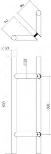 Intersteel Türgriffe Set T-schräg ø 30 mm - 500 mm gebürsteter Edelstahl - Vorschau 2