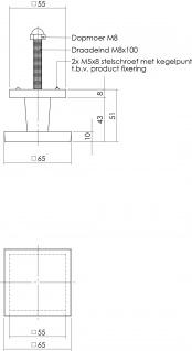 Intersteel Türknauf feststehend eckig Messing lackiert - Vorschau 2