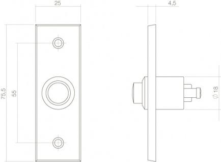 Intersteel Türklingel Rechteckig Schmal Messing lackiert - Vorschau 2