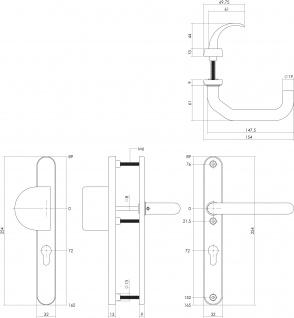 Intersteel Sicherheitsbeschlag SKG3 mit Profilzylinder-Lochung 72 mm Schmalschild oval Vordertürbeschlag Edelstahl gebürstet - Vorschau 2