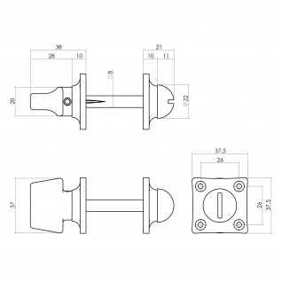 Intersteel Rosette mit Toiletten-/Badezimmerverriegelung quadratisch basic Nickel - Vorschau 2
