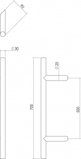 Intersteel Türgriff T-schräg 700x90x30 mm gebürsteter Edelstahl - Vorschau 2