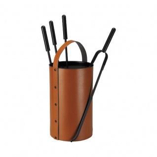 Samba, Farbe Cognac Leder regeneriert, Eisen beschichtet, H 59, 5 cm, Ø 22 cm, 3, 4 kg
