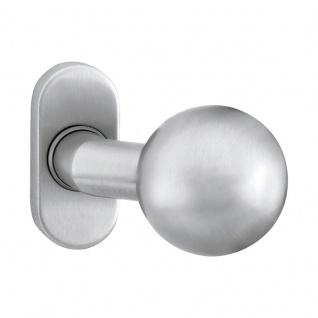 Corona Kugelknopf fest auf Rosette oder als Knopflochteil für Profiltüren, Edelstahl matt, Knopf fest, DIN
