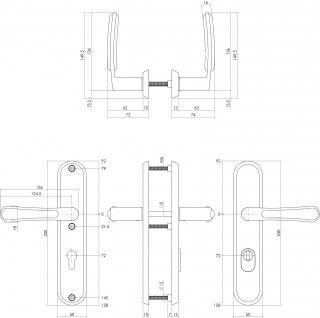 Intersteel Sicherheitsbeschlag SKG3 mit Profilzylinder-Lochung 72 mm und Kernziehschutz Hintertürbeschlag Special Fusion Edelstahl gebürstet - Vorschau 2