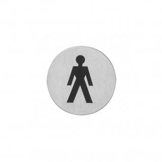 Intersteel Hinweisschilder Herrentoilette Rund selbstklebend gebürsteter Edelstahl