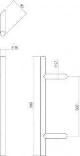 Intersteel Türgriff T-schräg ø 30 mm - 500 mm gebürsteter Edelstahl - Vorschau 2