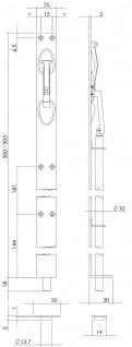 Intersteel Verriegelung 500 mm gebürsteter Edelstahl - Vorschau 2