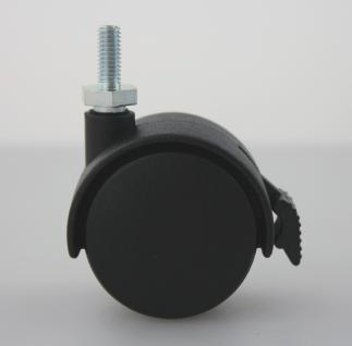MS Beschläge® Möbelrolle Hartbodenrolle aus Kunststoff mit Bremse und Gewinde