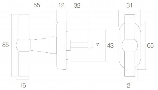Intersteel Fenstergriff T-Modell Messing getrommelt - Vorschau 2
