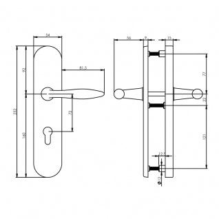 Intersteel Sicherheitsbeschlag SKG3 mit Profilzylinder-Lochung 72 mm Titan anthrazit PVD oval Hintertürbeschlag - Vorschau 2