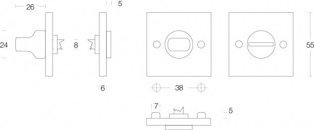 Intersteel Rosette mit Toiletten-/Badezimmerverriegelung quadratisch groß Nickel matt - Vorschau 2