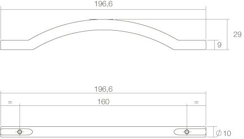 Intersteel Möbelgriff Gebogen aufgesetzt 197 mm Mattschwarz - Vorschau 2