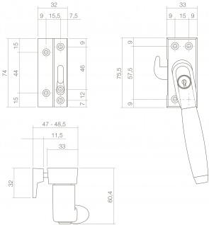 Intersteel Fensterverriegelung Ton 400 abschließbar links SKG* Messing lackiert/Ebenholz - Vorschau 2