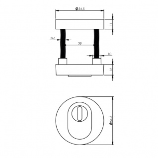 Intersteel Sicherheitsrosette Kernziehschutz Messing Titan PVD - Vorschau 2