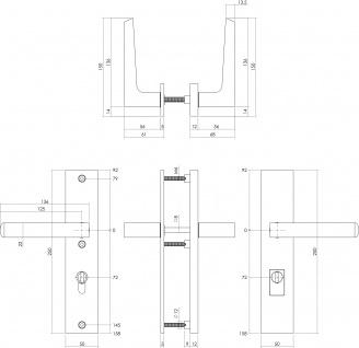Intersteel Sicherheitsbeschlag SKG3 mit Profilzylinder-Lochung 72 mm und Kernziehschutz Hintertürbeschlag Sliced no. 1 Edelstahl gebürstet - Vorschau 2