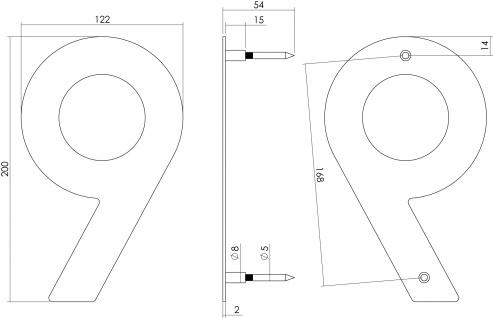 Intersteel Hausnummer 9 200 mm Edelstahl gebürstet - Vorschau 2