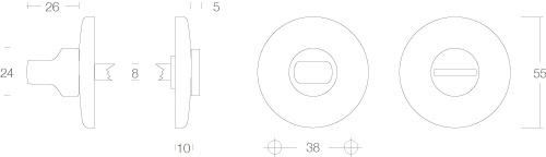 Intersteel Rosette mit Toiletten-/Badezimmerverriegelung gewölbt rund verdeckt Nickel - Vorschau 2