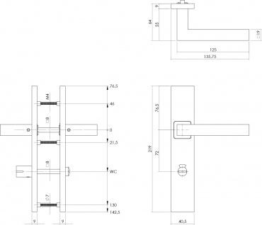 Intersteel Türklinke Quadratisch auf rechteckigem Schild mit Toiletten-/Badezimmerverriegelung 72 mm Edelstahl gebürstet - Vorschau 2
