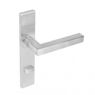 Intersteel Türklinke Quadratisch auf rechteckigem Schild mit Toiletten-/Badezimmerverriegelung 72 mm Edelstahl gebürstet