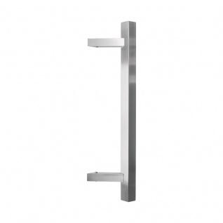 Stossgriff Quadro Edelstahl matt, Länge: 400 mm, LA: 300 mm