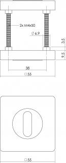 Intersteel Rosette mit Schlüsselloch verdeckt quadratisch Chrom - Vorschau 2