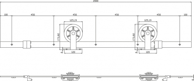 """Schiebetürsystem Schiebetürbeschlag Relingsystem Schwarz matt Modell """" Wheel Top"""" Länge 200cm - Vorschau 5"""