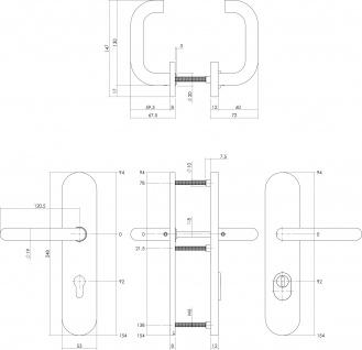 Intersteel Sicherheitsbeschlag SKG3 mit Profilzylinder-Lochung 92 mm und Kernziehschutz oval Hintertürbeschlag Edelstahl gebürstet - Vorschau 2