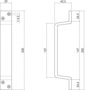 Intersteel Türgriff 200 x 29 mm Mattschwarz - Vorschau 2