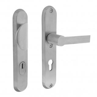 Intersteel Sicherheitsbeschlag SKG3 mit Profilzylinder-Lochung 72 mm Vordertürbeschlag Sliced no. 2 rechts Edelstahl gebürstet mit Kernziehschutz