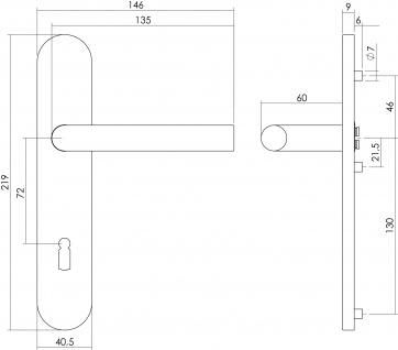 Intersteel Türklinke Gerade auf Schild mit Schlüsselloch 72 mm Edelstahl gebürstet - Vorschau 2