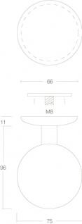 Intersteel Türknauf feststehend ø75 mm einseitige Montage gebürsteter Edelstahl - Vorschau 2