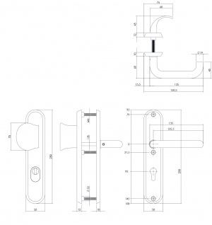 Intersteel Sicherheitsbeschlag SKG3 mit Profilzylinder-Lochung und Kernziehschutz 92 mm oval Vordertürbeschlag massiver Edelstahl gebürstet - Vorschau 2