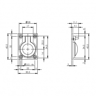 Intersteel Einbauring 30 x 40 mm Messing lackiert - Vorschau 2