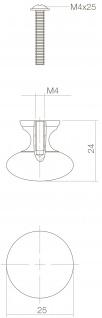 Intersteel Möbelknauf Pilz ø 25 mm Messing lackiert - Vorschau 2
