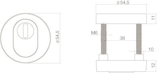 Intersteel Sicherheitsrosette mit Kernziehschutz Messing getrommelt - Vorschau 2