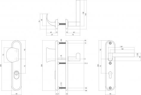 Intersteel Sicherheitsbeschlag SKG3 mit Profilzylinder-Lochung 72 mm und Kernziehschutz Vordertürbeschlag rechts Dock Black Edelstahl gebürstet - Vorschau 2