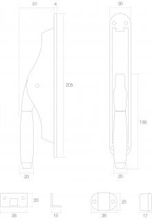 Intersteel Tür-Stangenschloss Ton 400 Messing unlackiert/Ebenholz - Vorschau 2