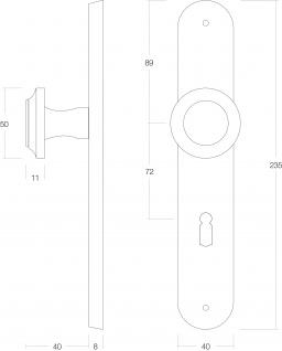 Intersteel Knauf auf Schild mit Schlüsselloch 72 mm Messing lackiert - Vorschau 2