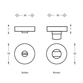 Intersteel Rosette mit Toiletten-/Badezimmerverriegelung Messing Titan PVD - Vorschau 2