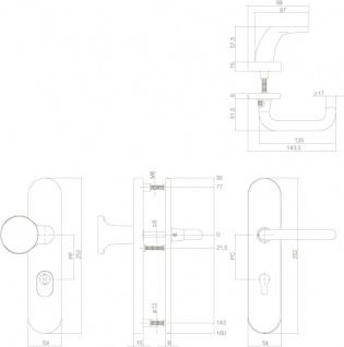Intersteel Sicherheitsbeschlag SKG3 oval mit Kernziehschutz und Profilzylinder-Lochung 92 mm Messing unlackiert - Vorschau 2